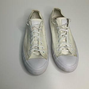 Converse All Star White on White Low Tops Size 12